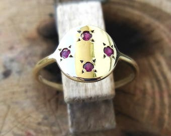 Stones ring, Gold ring with stones, Ruby ring, Ring with stones, anniversary ring for women, Gold delicate ring, Real gold ring
