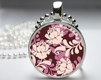 Shades of Pink Round Pendant Necklace with Silver Ball or Snake Chain Necklace or Key Ring