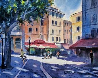 """Original Watercolor of Aix Summer Morning 11"""" x 15"""""""
