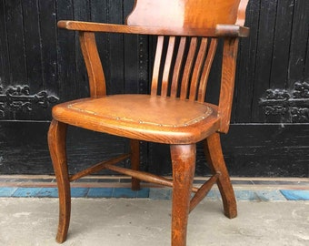 Excellent 1920's Solid Oak Desk or Office Captain's Chair with Leather Seat