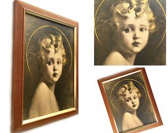Framed Angel Print, Framed Baby Jesus Print,Framed Angel Print, C Bosseron Chambers Religious Nursery Art, Light of the World Framed Print,