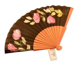 "Hand-painted Pear fan. ""Aromas of Dusk"""