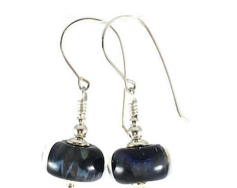 Lampwork Glass Earrings, Black Bead Earrings, silver earrings, gift for her, Gift for Mom, dangle earrings, Handmade lampwork Glass Earrings