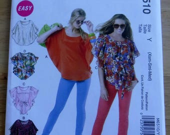 McCalls Misses tops pattern/easy sewing pattern/Tunic blouse/uncut pattern, xs s m loosefitting, layering look, Lagenlook, easy M6652 2012