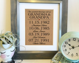 Our greatest blessings call us GRANDMA and GRANDPA   Mother's Day Father's Day Gift   Burlap Print Christmas Gift   Frame not included