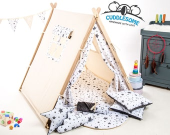 Teepee tent playhouse, best birthday gift, grey stars kids tipi tent, kids teepee with play mat, wigwam room decoration, teepee uk, boy fort
