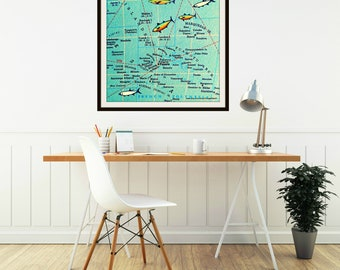 BORA BORA map art print, Wanderlust map print Travel Gift, French Polynesia Tahiti Islands Wanderlust Gift Travel Art honeymoon wedding gift