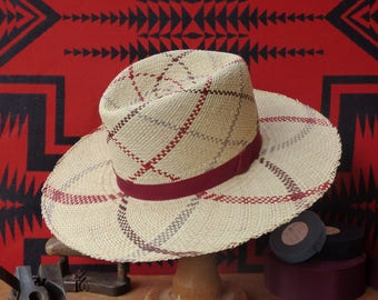 "Handmade Cream/Red Patterned Panama Straw Fedora Hat -- Size 7 - Small - 22"" - 56 cm"