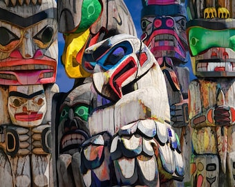 Totem Poles, First Nations, Wood Sculptures, Indian Culture, Vancouver Island, Pacific Northwest, British Columbia, Canadian Photography