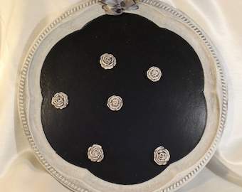 Silver Tray Chalkboard Magnet Board  with Rose Magnets