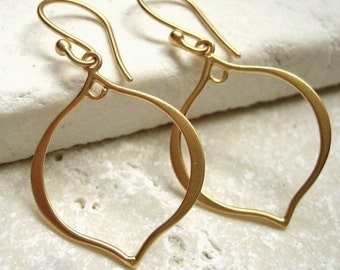 24K Vermeil Style Earrings Gold Plated Arabesque Earwires - Pair