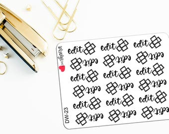 Edit Videos | Cut Video, Vlogger Stickers, Plan With Me, Edit Youtube Video, Vlog Stickers - Hand Drawn and Hand Lettered Planner Stickers