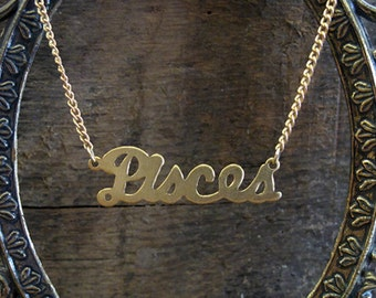 Pisces Astrological Sign Brass Necklace