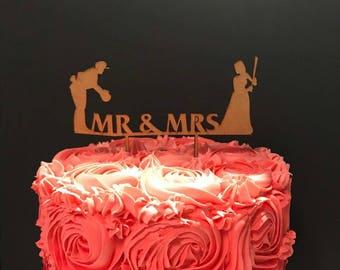 Baseball Mr & Mrs wood cake topper.