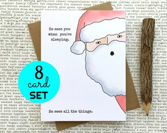 Funny Christmas Card, Funny Santa Christmas Card, Santa Christmas Card, Creepy Christmas Card, Adult Christmas Card, Christmas Card Set