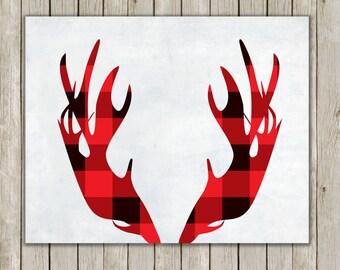 8x10 Moose Antler, Moose Head Antler, Moose Horn, Deer, Red Buffalo Plaid, Home Decor, Antler Wall Art, Antler Wall Print, Instant Download