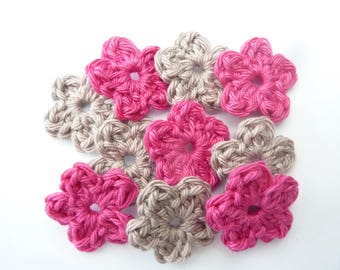 Mini flowers Beige and Rose Fuchsia crocheted 100% cotton-set of 10
