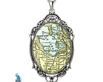 Vintage Map Necklace Oval Filigree Pendant City of Salt Lake City Utah Antique Map Pendant State of UT Map Jewelry Destination Travel