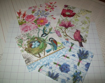 Floral Paper Napkins for Decoupage/ Mixed Media/ Collage/ Altered Art