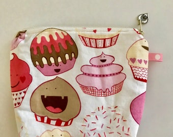 Cupcake Fabric Zipper Pouch, Heart Charm, Cosmetic Bag, Handmade, 100% Cotton