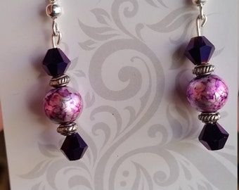 Purple splash earrings with faceted Royal purple glass bead accents