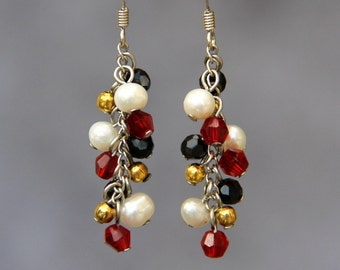 Pearl red gold chandelier earrings bridesmaid gift Free US Shipping handmade Anni Designs