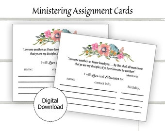Ministering Assignment Card Printable, Ministering Sisters, LDS Ministering Printable, Ministering LDS, Ministering Interview Relief Society
