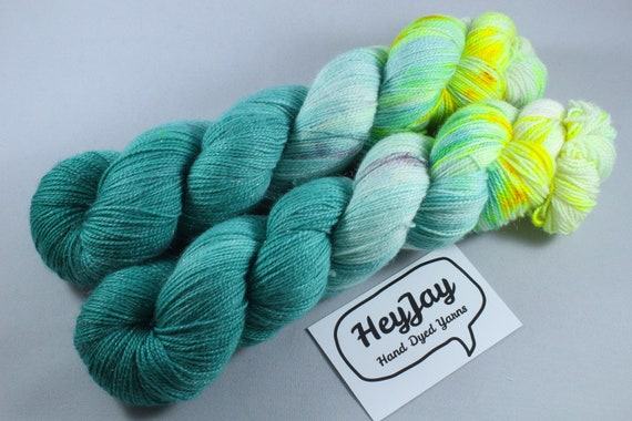Hand Dyed Sparkle Merino Sock Yarn - Electric Eel