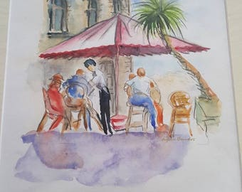 Cafe society - holiday scene - original painting