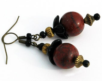 Red Jasper Beaded Earrings, Jasper Stone Accented with Black Glass and Antique Brass Beads, Semi-Precious Gemstone Earrings