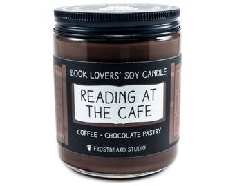Reading at the Cafe - 8 oz Book Lovers' Soy Candle -  Book Lover Gift - Scented Soy Candle - Frostbeard Studio
