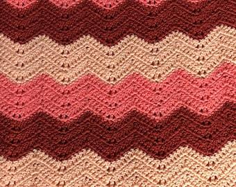 Retro chevron stripe  afghan hand crocheted 1970s MEDIUM SIZE