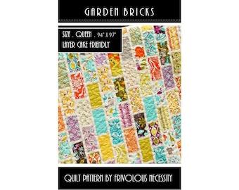 Quilt Pattern PDF Garden Bricks -- Queen Size -- Layer Cake Friendly