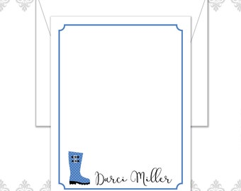 Rain boots Stationery Set of 10 with envelopes - Rain Boots Stationery Cards -  - Modern Rain Boots Note Cards - Polka Dot Rain Boots cards