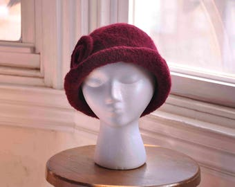 Felted ruby red and dark burgundy women's wool knit hat cloche with spiral--1920s style--Ruby