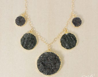 50% OFF SALE - Gold Round Black Agate Druzy Bib Necklace - Gold or Silver - Statement Necklace