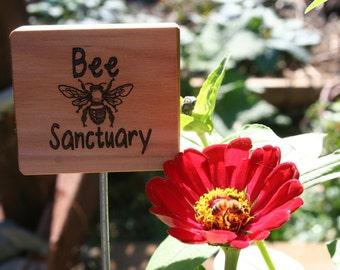 Bee Sanctuary Sign- Cedar Bee Sign- Wooden Natural Garden Sign- Natural Garden/Farm Decor