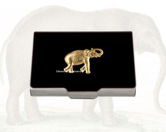 Golden Elephant Embellished Business Card Case on Black Enamel Vintage Safari Inspired Personalized and Color Options
