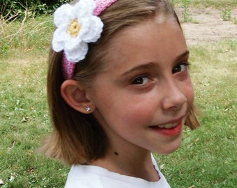 Pink Crochet Stretch Headband with Adjustable Crochet White and Yellow Flower--Any Size