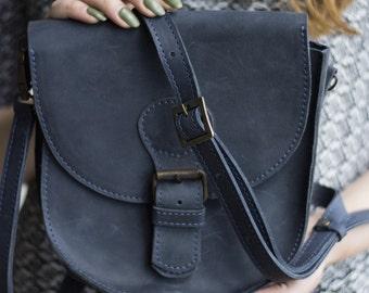 Purse, everyday womens bag, small crossbody bag, handmade leather bag, shoulder bag leather, small leather bag, leather purse, women, blue