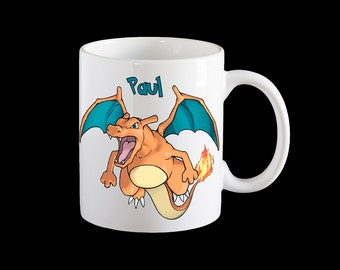 Pokemon Go Charizard Personalised Mug, Charizard Coffee Mug, Pokemon Charizard Kids cup, Pokemon Gift