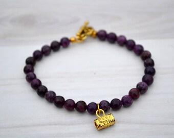 Lepidolite bracelet, Violet lepidolite bracelet, Lepidolite gift, Lepidolite jewelry, Lepidolite original gift, Lepidolite beaded bracelet.