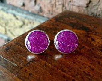 Magenta Glitter Post Earrings