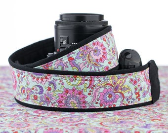 Aqua Paisley dSLR Camera Strap, Pink, Red, Yellow, Violet, Lime, SLR, 108