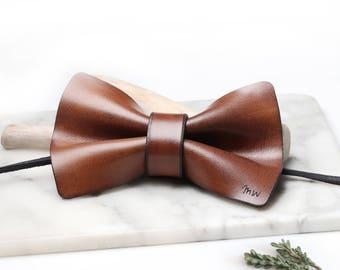 Groomsmen Bow Tie, Groom Bow Tie, Leather Bowtie, Wedding Bow Tie, Brown Leather Bow Tie, Leather Bowtie, Monogram Bow Tie, Pre Tied Bow Tie