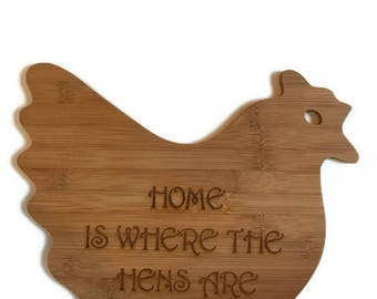 Custom Chicken Cutting Board / Personalized Bamboo Hen / Chicken Decor