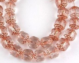 Crystal bead, set of 2, salmon, with Golden ends, art deco, art nouveau