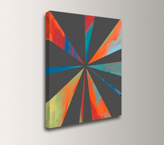 "Modern Art - Geometric Art - Grey Orange and Teal - Canvas Print of Original Acrylic Painting - Abstract Wall Decor - ""Juncture"""