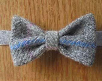 HARRIS TWEED Grey check/Tartan/Plaid Wool bow tie with Liberty Print.