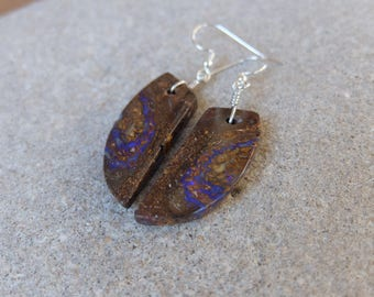 Boulder Opal earrings - earthy, natural, brown, purple -  handmade in Australia by NaturesArtMelbourne - unique stone earrings